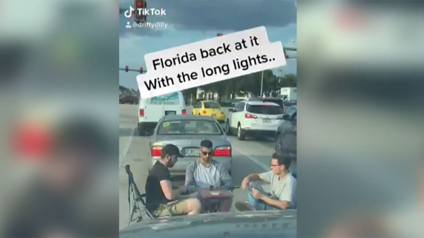 Viral Video Shows Men Playing Cards in Middle of Florida Traffic