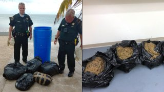 A large blue barrel containing about 90 pounds of marijuana washed ashore in the Florida Keys, authorities said.