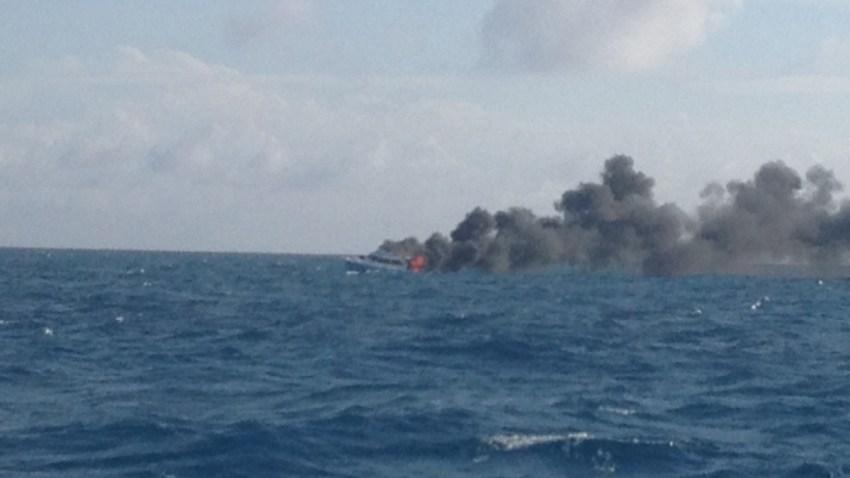 121313 coast guard boat on fire florida keys
