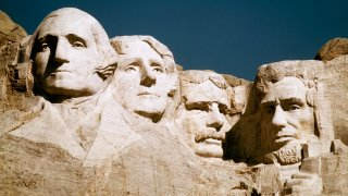 In this undated file photo, Mount Rushmore is shown in South Dakota. From left are George Washington, Thomas Jefferson, Teddy Roosevelt and Abraham Lincoln.