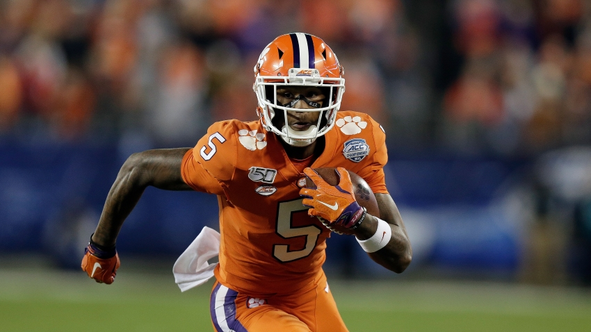 Clemson wide receiver Tee Higgins runs against Virginia during the first half of the Atlantic Coast Conference championship NCAA college football game in Charlotte, N.C., Saturday, Dec. 7, 2019.