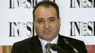 This 1998 file frame from video provided by C-SPAN shows George Nader, then-president and editor of Middle East Insight. Nader, a key witness in special counsel Robert Mueller's investigation, entered a plea deal in federal court in Alexandria, admitting transporting a 14-year-old boy from the Czech Republic to Washington, D.C., in 2000 to engage in sexual activity.