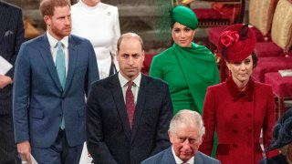 From left, Britain's Prince Harry, Prince William, Meghan Duchess of Sussex and Kate, Duchess of Cambridge leave the annual Commonwealth Service at Westminster Abbey in London Monday March 9, 2020. Britain's Queen Elizabeth II and other members of the royal family along with various government leaders and guests are attending the annual Commonwealth Day service, which is also the last event for Meghan and Harry as senior royals before they break from Buckingham Palace.