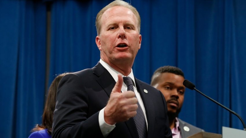San Diego Mayor Kevin Faulconer discusses the meeting concerning the state's homeless situation he and other mayors of some of California's largest cities had with Gov. Gavin Newsom at the Capitol in Sacramento, Calif., Monday, March 9, 2020.