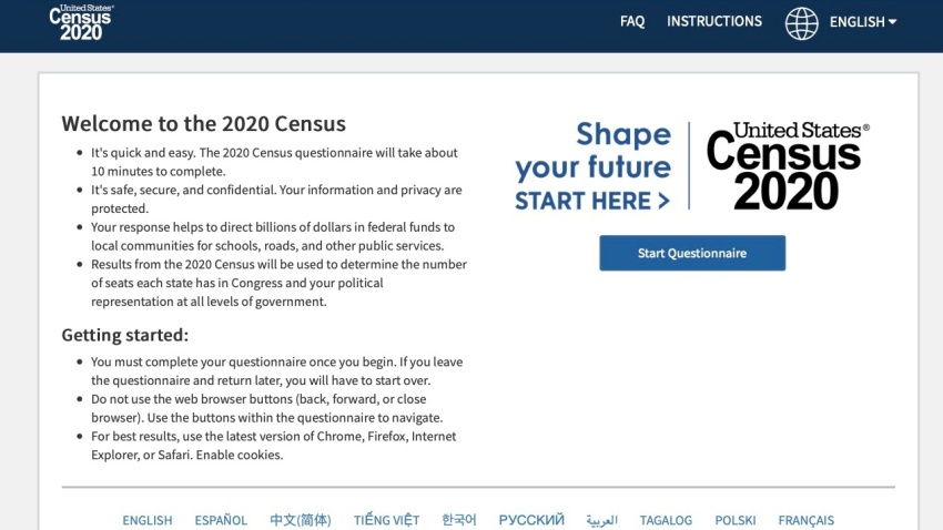 The homepage of the United States' Census 2020 website