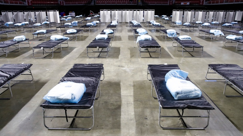 A federal medical station is set up at Temple University's Liacouras Center in Philadelphia, Monday, March 30, 2020, to accommodate an influx in hospital patients due to the coronavirus outbreak.
