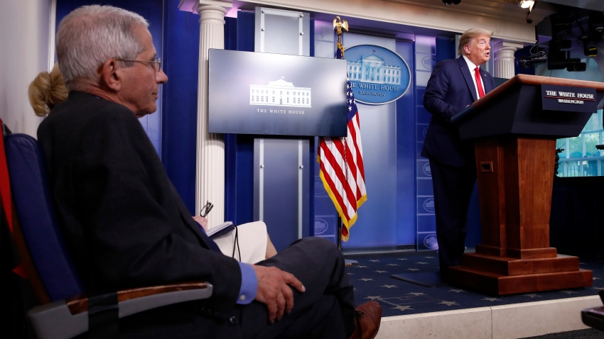 Dr. Anthony Fauci, director of the National Institute of Allergy and Infectious Diseases, listens as President Donald Trump speaks about the coronavirus in the James Brady Press Briefing Room at the White House, Monday, April 13, 2020, in Washington.