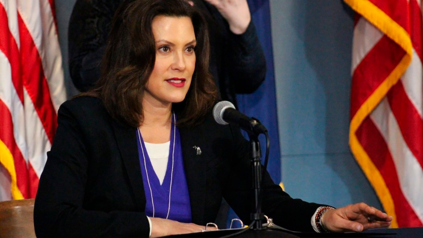 This photo provided by the Michigan Office of the Governor, Michigan Gov. Gretchen Whitmer addresses the state during a speech in Lansing, Mich., Friday, April 17, 2020.