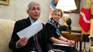 White House coronavirus response coordinator Dr. Deborah Birx listens as director of the National Institute of Allergy and Infectious Diseases Dr. Anthony Fauci speaks during a meeting between President Donald Trump and Gov. John Bel Edwards, D-La., about the coronavirus response, in the Oval Office of the White House, Wednesday, April 29, 2020, in Washington.
