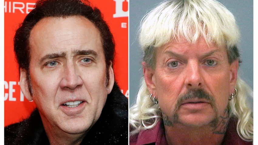 "This combination photo shows actor Nicolas Cage at the premiere of ""Mandy"" during the 2018 Sundance Film Festival in Park City, Utah. on Jan. 19, 2018, left, and a booking mug of provided by the Santa Rosa County Jail in Milton, Fla., shows Joseph Maldonado-Passage, also known as ""Joe Exotic."""