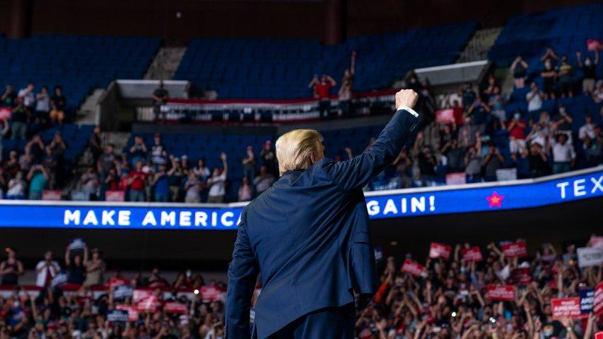 President Trump speaks on stage in Tulsa