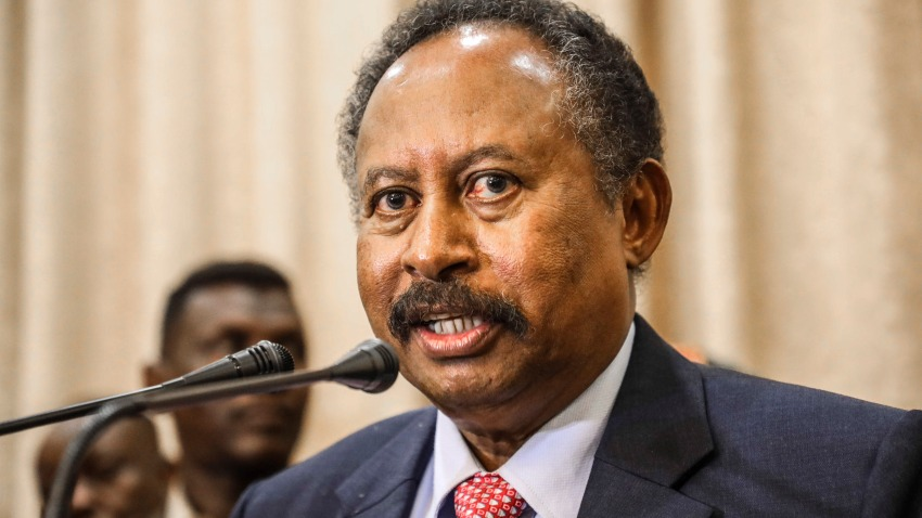 In this Aug. 21, 2019, file photo, Sudan's new Prime Minister Abdalla Hamdok speaks during a press conference in Khartoum, Sudan. Sudan's state media Monday, March 9, 2020, says Hamdok has survived an assassination attempt after a blast in the capital Khartoum.