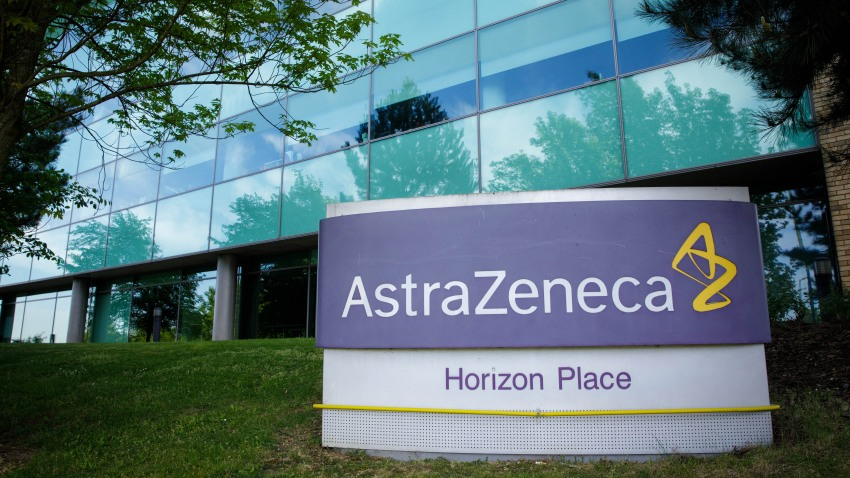 This May 18, 2020, photo shows a logo in front of AstraZeneca's building in Luton, Britain.