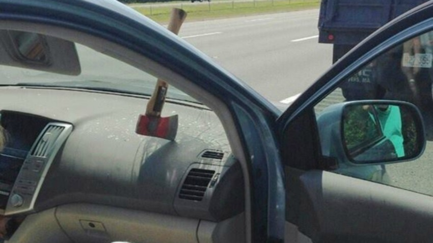 Ax through windshield in Topsfield