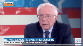 "In an exclusive interview with NBC's ""TODAY,"" Sen. Bernie Sanders cast doubt on President Donald Trump's claims that a top Iranian general was planning imminent attacks on U.S. embassies in the Middle East."