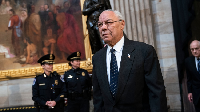 In this Dec. 4, 2018, file photo, former Chairman of the Joint Chiefs of Staff and former Secretary of State Colin Powell arrives to pay his respects at the casket of the late former President George H.W. Bush as he lies in state at the U.S. Capitol in Washington, DC.