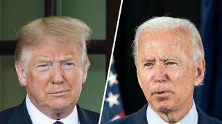 Donald Trump (left) and Joe Biden (right).