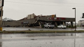 Businesses in Jonesboro Arkansas destroyed by a tornad