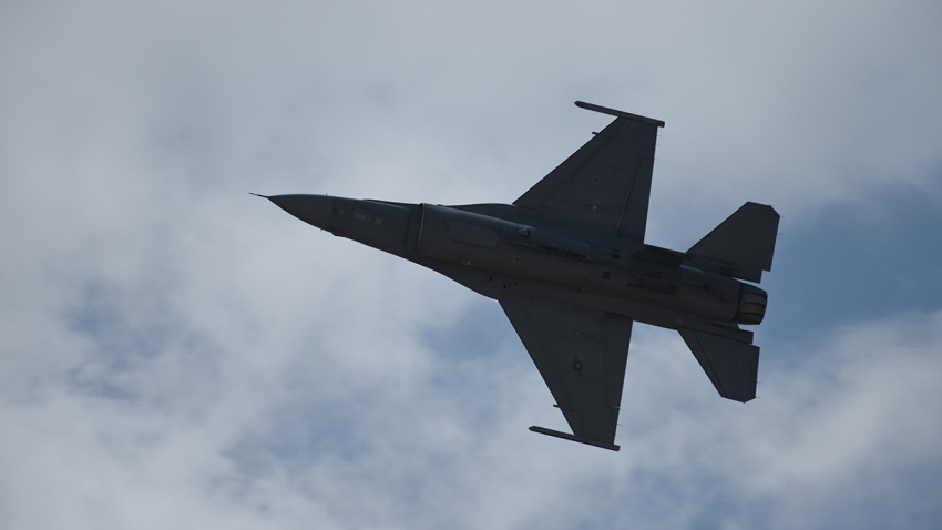 In this May 13,2018, file photo, an F-16 Fighting Falcon fighter aircraft flies during a demonstration at the Dyess Big Country Air and Space Expo, Dyess Air Force Base, Texas.