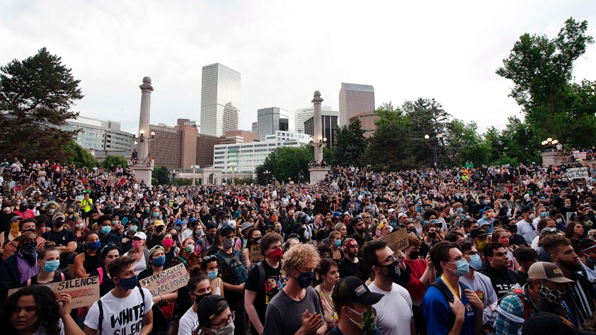 Thousands of demonstrators gather at Civic Center Park in Denver, Colorado, on June 3, 2020, while protesting the death of George Floyd, an unarmed black man who died while being arrested and pinned to the ground by a Minneapolis police officer.