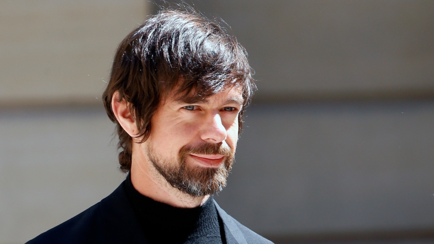 "In this May 15, 2019, file photo, Jack Dorsey arrives to attend the ""Tech for Good"" Summit at Hotel de Marigny in Paris, France."
