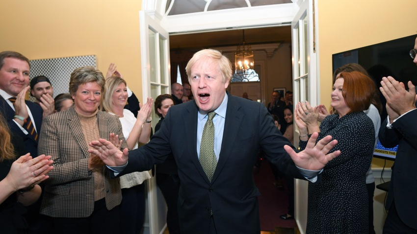 Prime Minister Boris Johnson arrives back at 10 Downing Street after visiting Buckingham Palace where he was given permission to form the next government during an audience with Queen Elizabeth II on Dec. 13, 2019, in London, England.