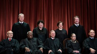 Justices of the United States Supreme Court sit for their official group photo at the Supreme Court on Friday, Nov. 30, 2018 in Washington, DC. Seated from left, Associate Justice Stephen Breyer, Associate Justice Clarence Thomas, Chief Justice of the United States John G. Roberts, Associate Justice Ruth Bader Ginsburg and Associate Justice Samuel Alito, Jr.. Standing from left, Associate Justice Neil Gorsuch, Associate Justice Sonia Sotomayor, Associate Justice Elena Kagan and Associate Justice Brett M. Kavanaugh.