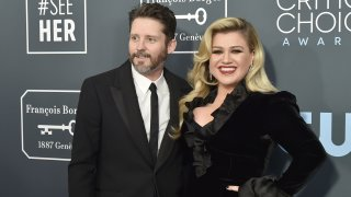 In this Jan. 12, 2020, file photo, Brandon Blackstock and Kelly Clarkson during the arrivals for the 25th Annual Critics' Choice Awards at Barker Hangar in Santa Monica, California.