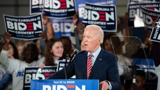 Democratic presidential candidate former Vice President Joe Biden addresses the crowd during a South Carolina campaign launch party on Feb, 11, 2020, in Columbia, South Carolina.