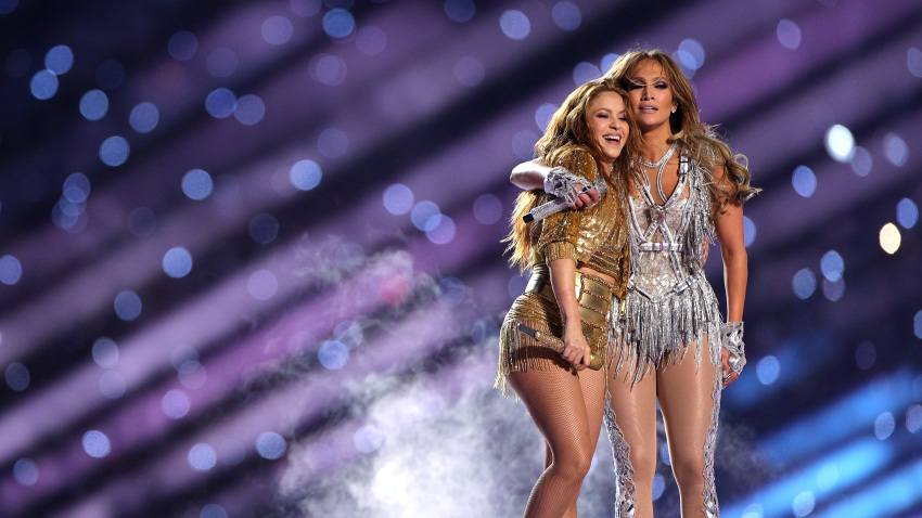 Shakira and Jennifer Lopez perform during the Pepsi Super Bowl LIV Halftime Show at Hard Rock Stadium on February 02, 2020 in Miami, Florida.