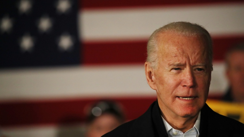 Democratic presidential candidate former Vice President Joe Biden speaks at an event on February 05, 2020 in Somersworth, New Hampshire.