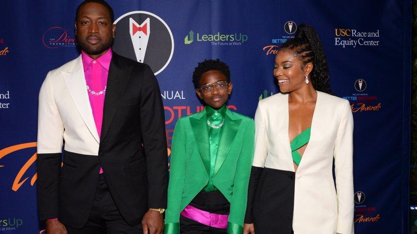 (L-R) Dwyane Wade, Zaya Wade and Gabrielle Union