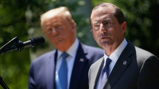 Secretary of Health and Human Services Alex Azar, with President Donald Trump, on May 15, 2020, in the Rose Garden of the White House in Washington, DC.