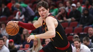 Cedi Osman of the Cleveland Cavaliers in a game against the Chicago Bulls at the United Center on March 10, 2020, in Chicago.