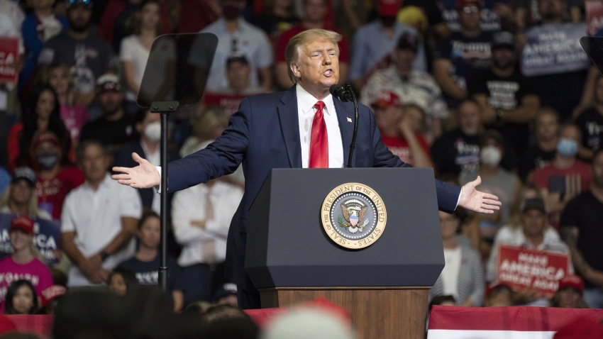 In this June 20, 2020, file photo, U.S. President Donald Trump speaks during a rally in Tulsa, Oklahoma.