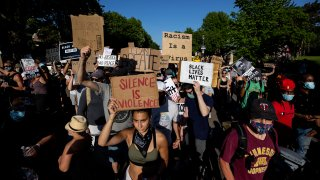 A protest following the fatal arrest of George Floyd is held at Minnesota Gov. Tim Walz's official residence on June 1, 2020, in St. Paul, Minnesota.