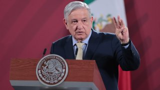 In this June 10, 2020, file photo, President of Mexico Andres Manuel Lopez Obrador gestures during his daily morning briefing in Mexico City, Mexico.