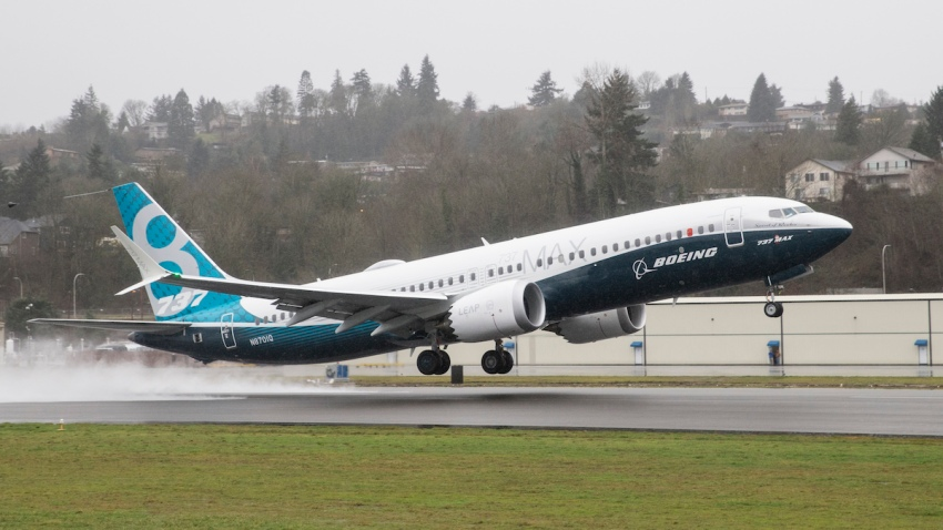File photo- A Boeing 737 MAX 8 airliner lifts off for its first flight on Jan. 29, 2016, in Renton, Washington.