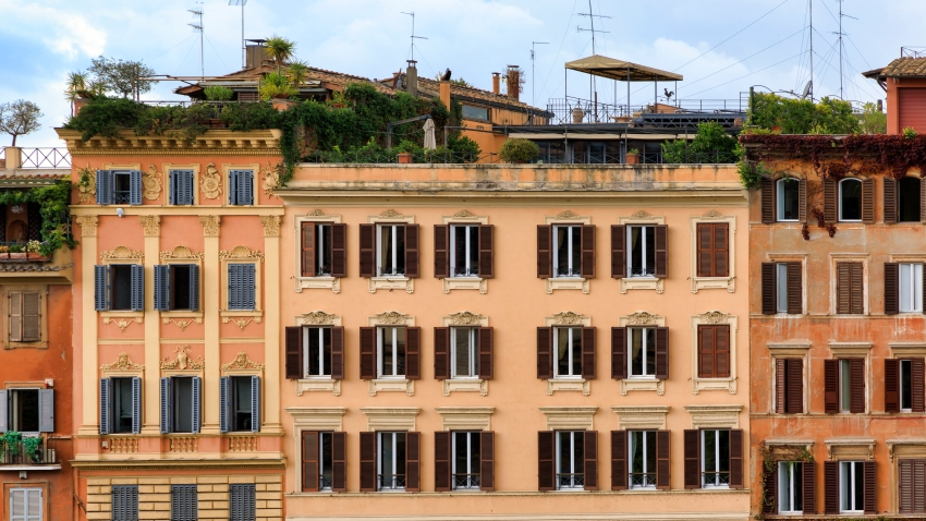 A building with balconies in Rome