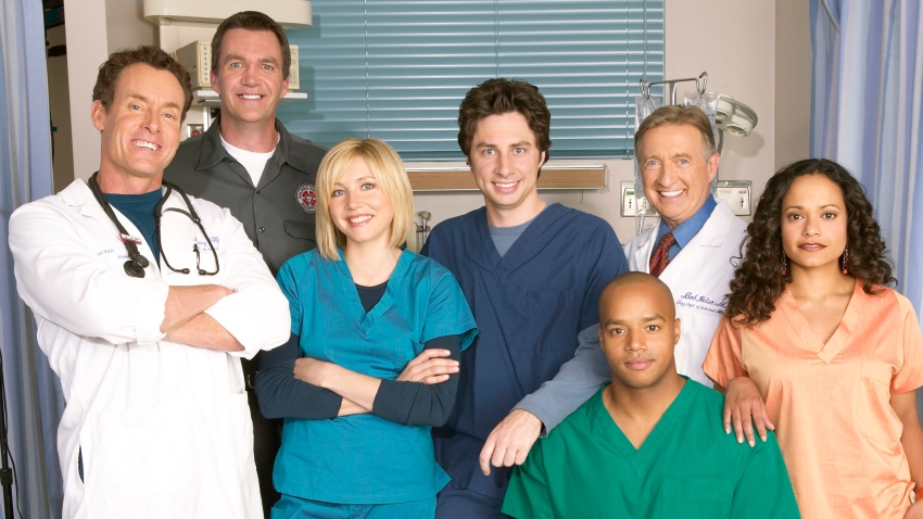 Zach Braff, Sarah Chalke, Donald Faison, Ken Jenkins, John C. McGinley, Judy Reyes and Neil Flynn as the Janitor.