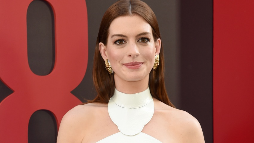"""In this June 5, 2018, file photo, Anne Hathaway attends the """"Ocean's 8"""" World Premiere at Alice Tully Hall in New York City."""
