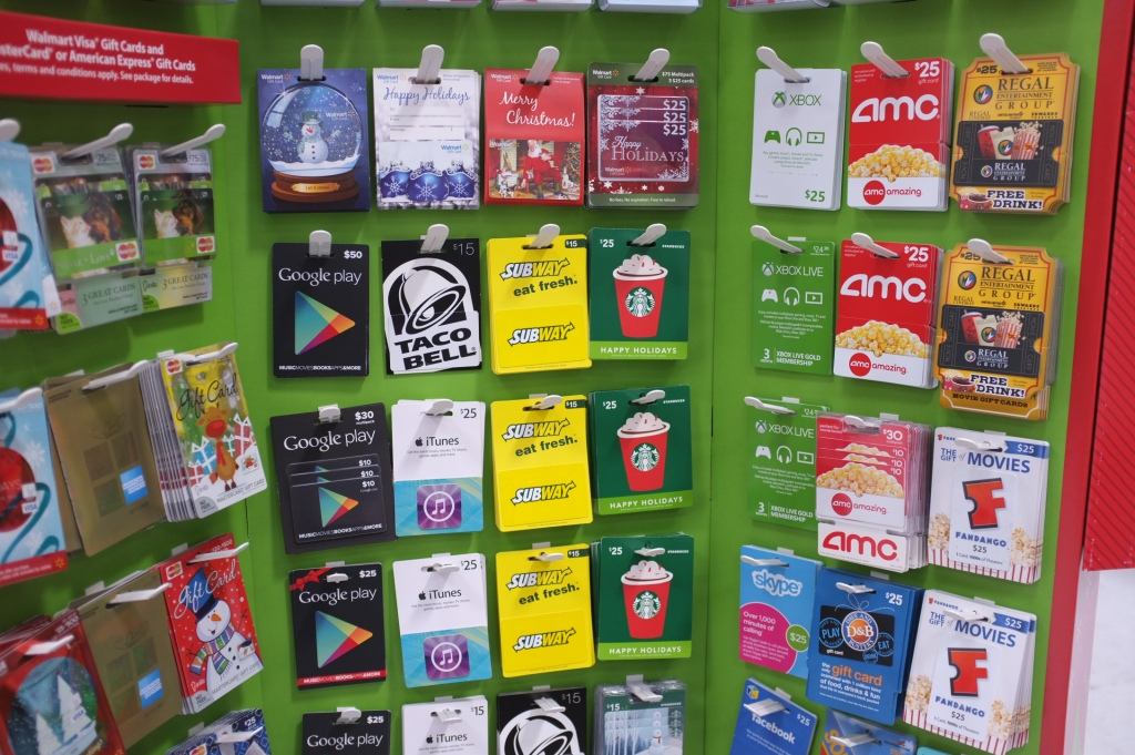Store rack willed with gift cards