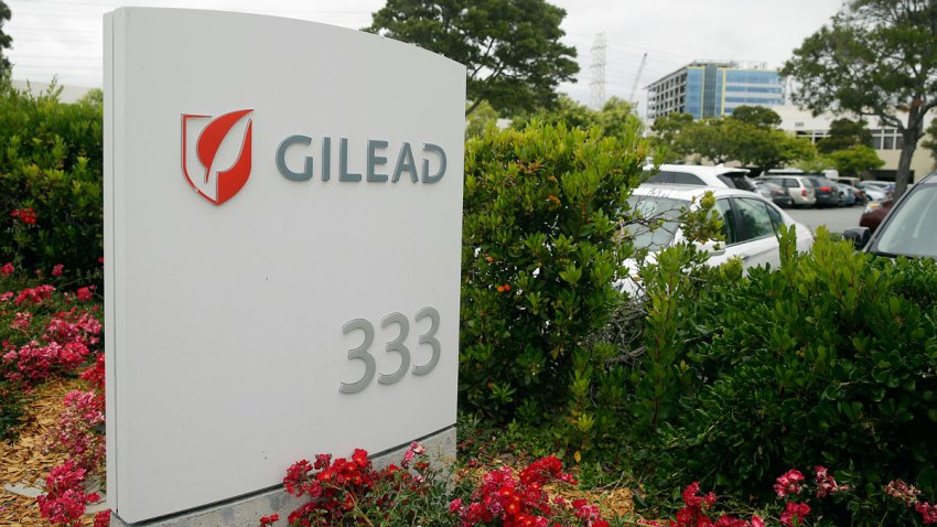This photo taken Thursday, July 9, 2015, is the headquarters of Gilead Sciences in Foster City, Calif.