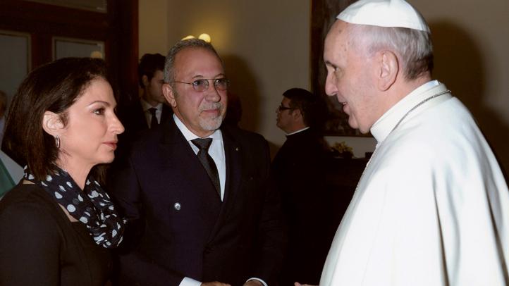 Gloria Estefan, Emilio Estefan and Pope Francis