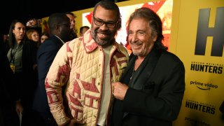 """Al Pacino, right, a cast member in the Amazon Prime Video series """"Hunters,"""" poses with executive producer Jordan Peele at the premiere of the show at the Directors Guild of America, Wednesday, Feb. 19, 2020, in Los Angeles."""
