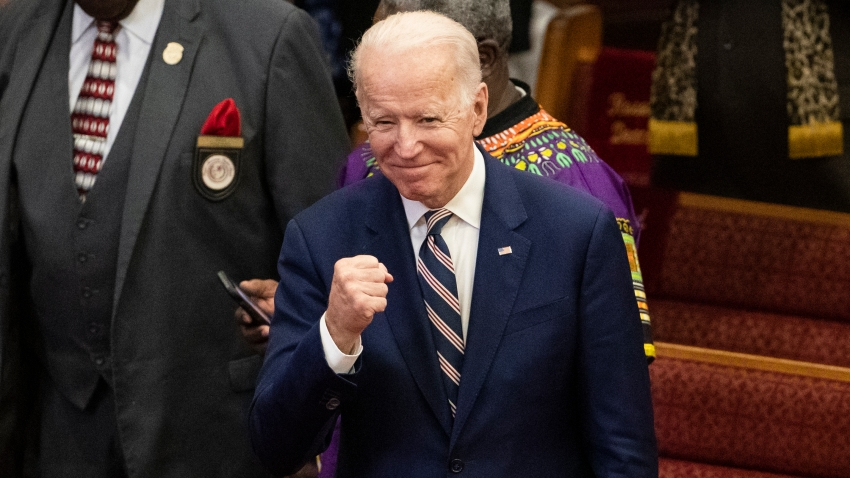 Democratic presidential candidate former Vice President Joe Biden gestures as he departs after attending services, Sunday, Feb. 23, 2020, at the Royal Missionary Baptist Church in North Charleston, S.C.