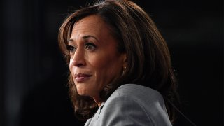 California Senator Kamala Harris speaks to the press in the Spin Room after participating in the fifth Democratic primary debate of the 2020 presidential campaign season co-hosted by MSNBC and The Washington Post at Tyler Perry Studios in Atlanta, Georgia on November 20, 2019.