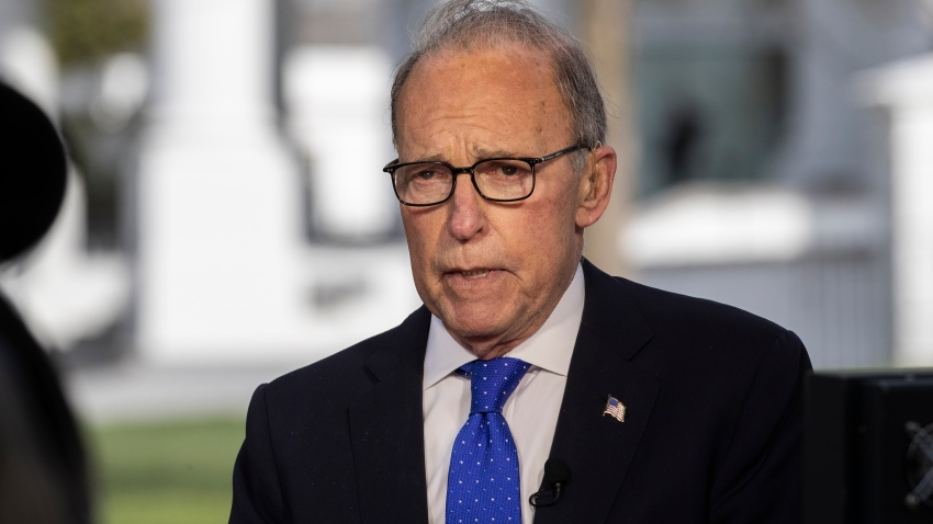 White House chief economic adviser Larry Kudlow speaks during a television interview at the White House, Friday, April 10, 2020, in Washington.