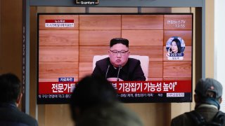 In this March 2, 2020, file photo, South Korean TV airs file footage of North Korean leader Kim Jong Un at the Seoul Railway Station in Seoul, South Korea.
