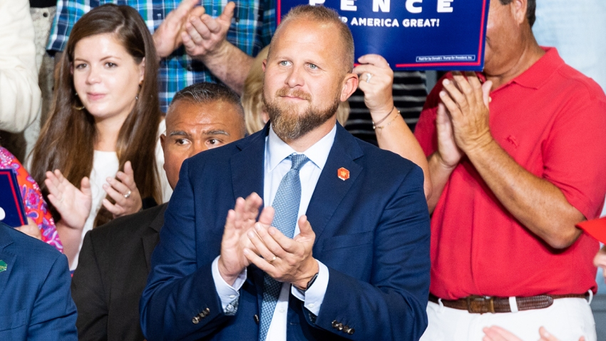 In this July 17, 2019, file photo, Brad Parscale, Campaign Manager for Donald Trump's reelection campaign, is seen during President Donald Trump's Make America Great Again Rally at the Williams Arena at East Carolina University, Greenville.
